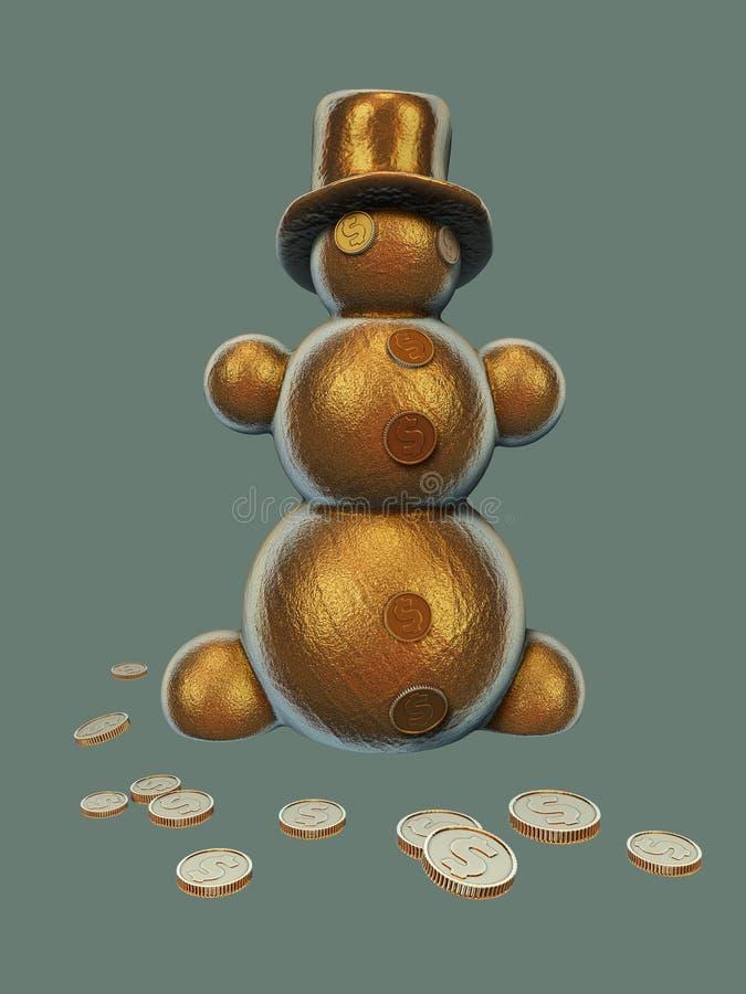 Ilustração dourada do boneco de neve 3d do Natal imagem de stock