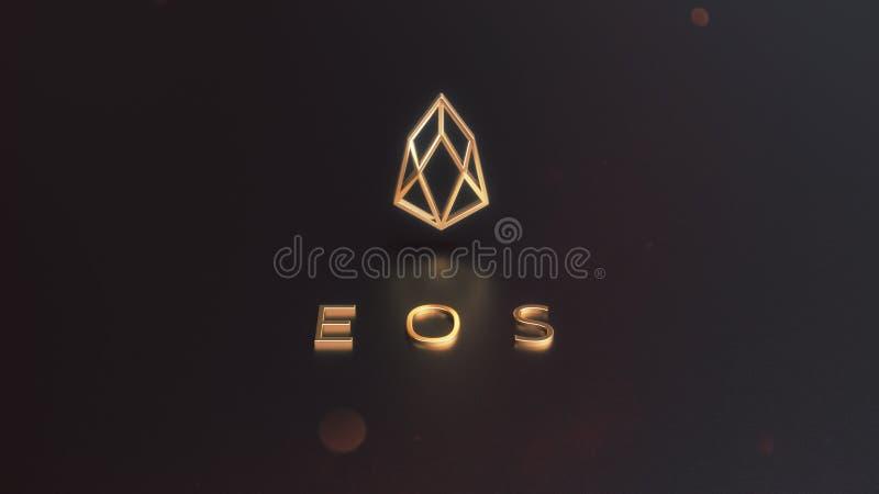 Ilustração dourada do logotipo 3d do cryptocurrency do EOS ilustração do vetor