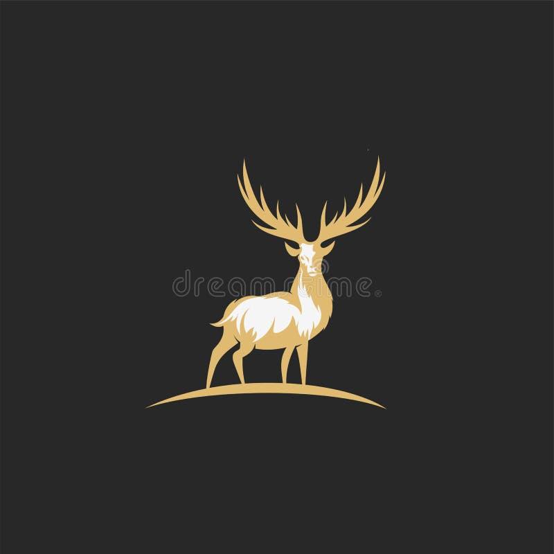 Ilustração dourada e branca do vetor dos cervos dos chirstmas ilustração stock