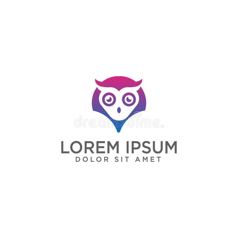 Ilustração e inspiração do vetor do molde do logotipo de Owl Map ou do ponto ilustração royalty free