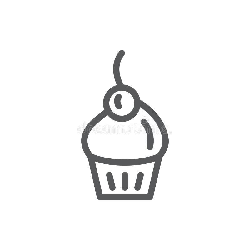 Ilustração editável do vetor do ícone do queque - linha fina pictograma de sobremesa cozida doce decorada com cereja ilustração stock