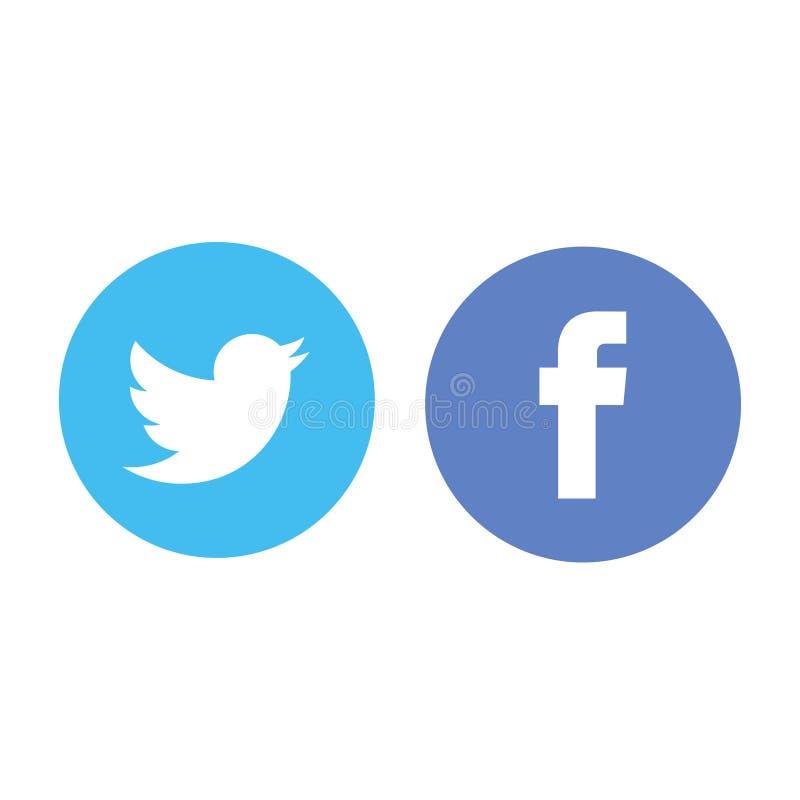 Ilustração editorial do logotipo de Facebook e de Twitter imagens de stock royalty free