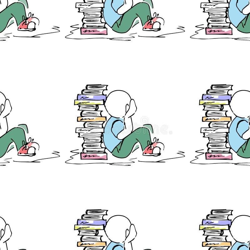 Ilustração educacional Povos no trabalho Estudo, sessão, biblioteca, vida do estudante Teste padrão sem emenda ilustração royalty free