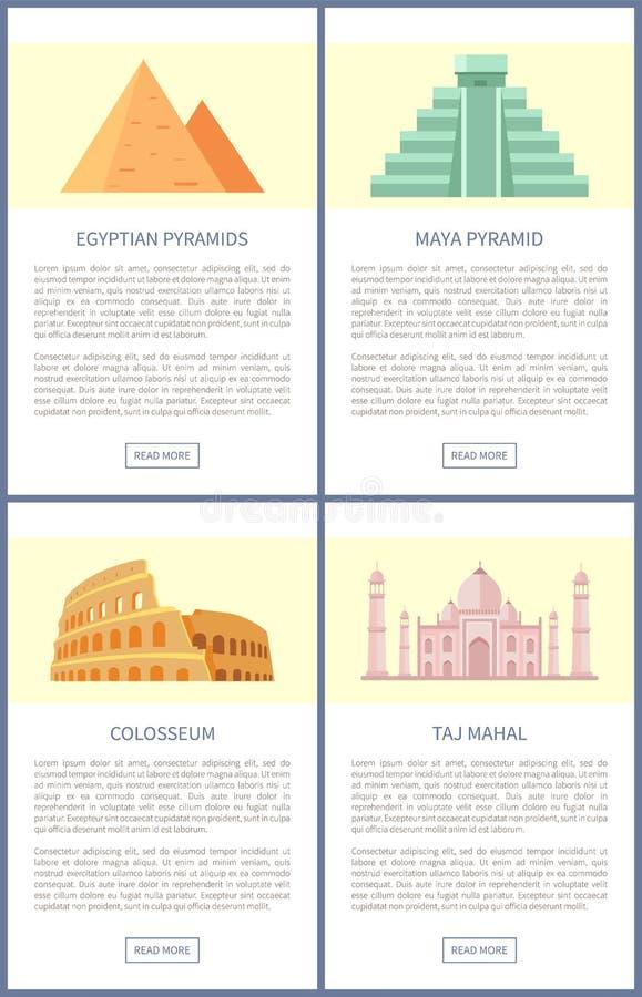 Ilustração egípcia do vetor de Colosseum das pirâmides ilustração stock