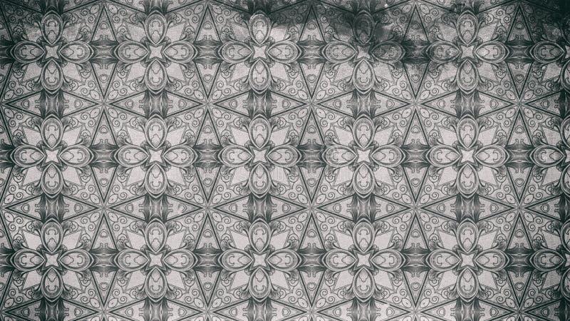 Ilustração elegante bonita do molde escuro do projeto do teste padrão do fundo de Grey Vintage Decorative Floral Ornament ilustração royalty free