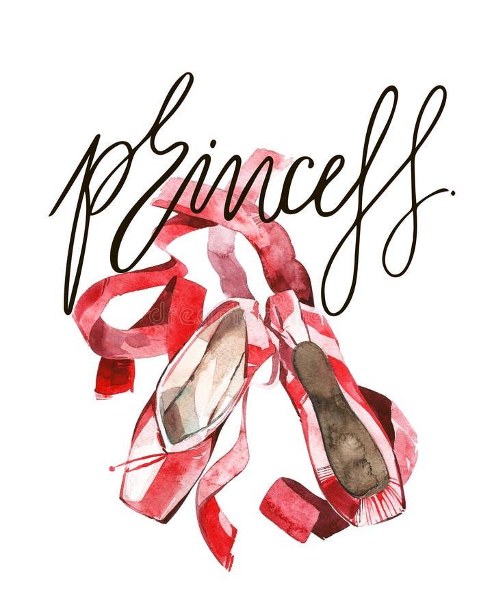 Ilustração elegante de sapatas do rosa do bailado com fita Isolado no branco ilustração royalty free