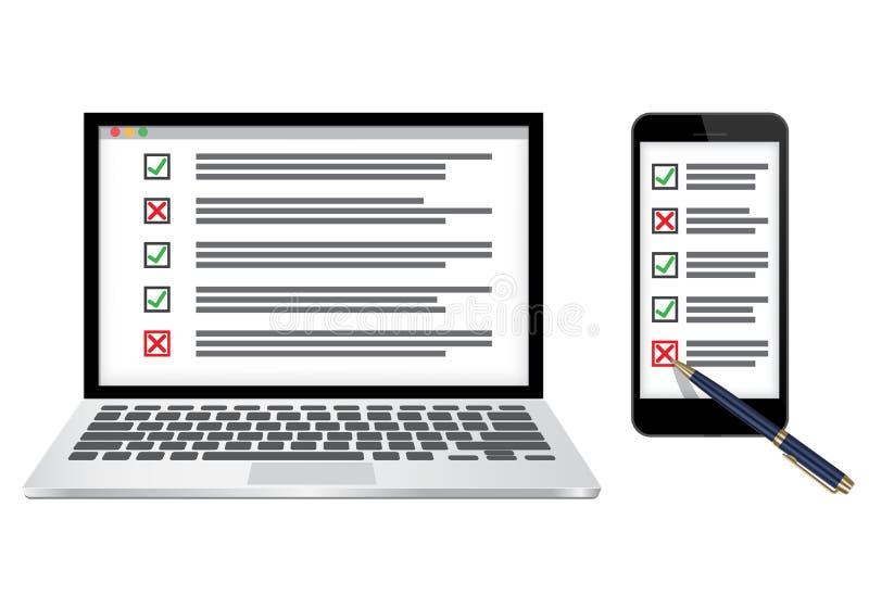 Ilustração em linha do vetor do conceito da avaliação ou da lista de verificação ilustração do vetor