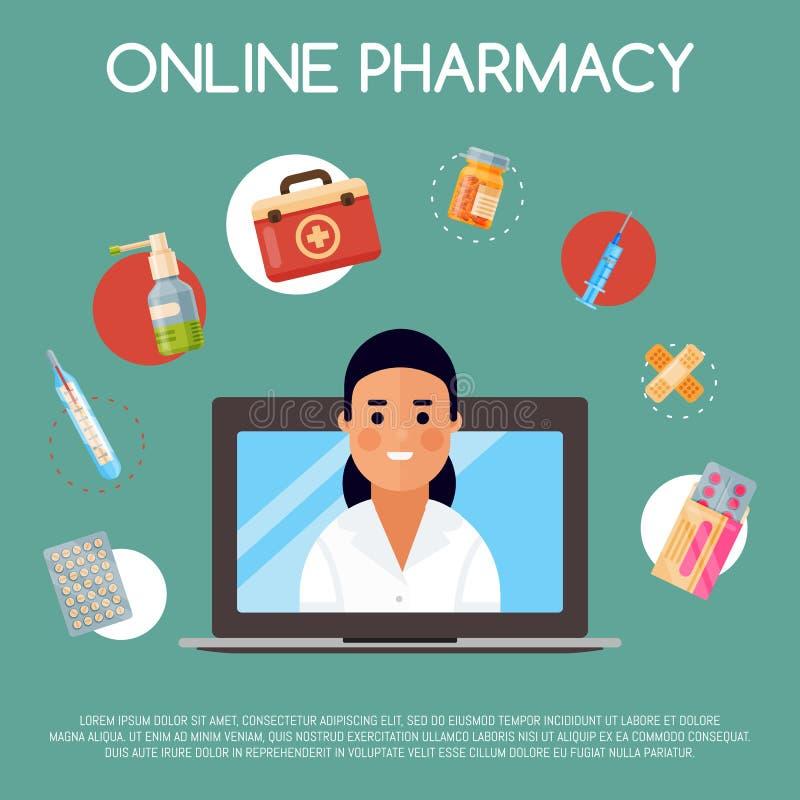 Ilustração em linha do vetor da bandeira da loja da medicamentação Compra do Internet Químico fêmea que vende drogas Medicina, fa ilustração stock