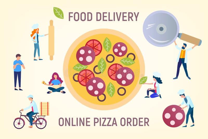 Ilustração em linha do vetor da ordem da pizza ilustração royalty free