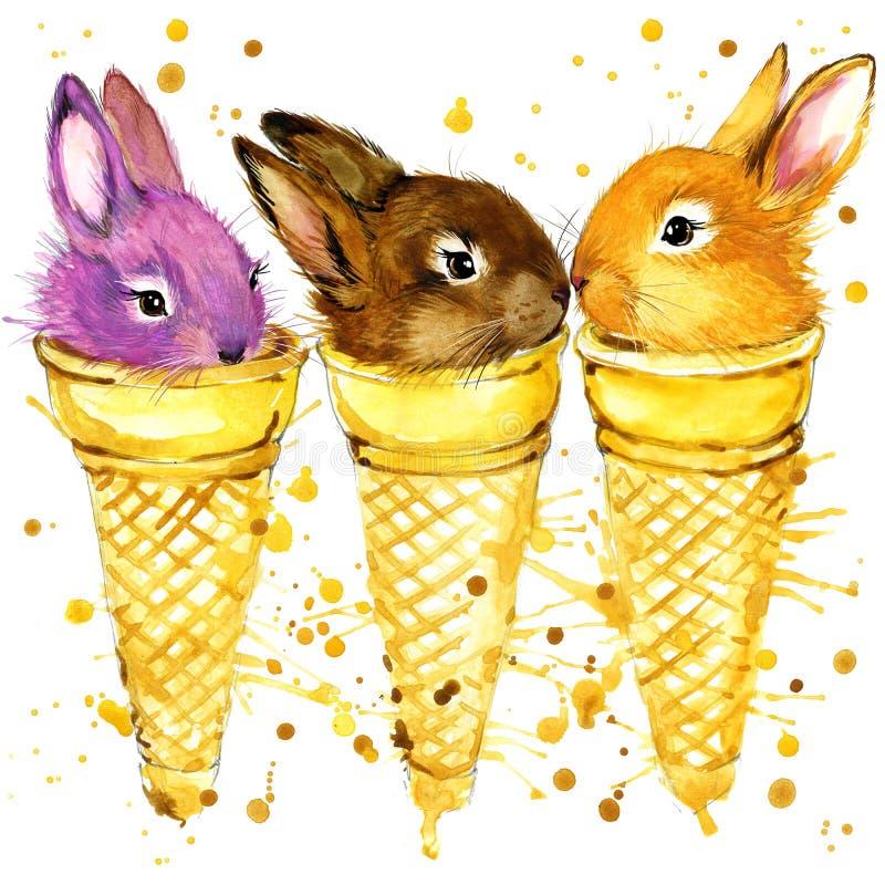 Ilustração engraçada da aquarela do coelho ilustração royalty free