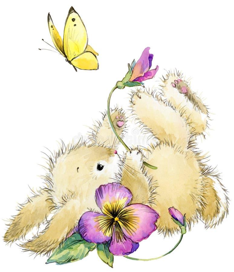 Ilustração engraçada da aquarela do coelho e da flor ilustração do vetor