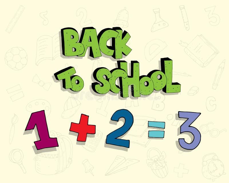 Ilustração engraçada da escola das crianças com a inscrição, elementos decorativos, números em um fundo neutro Vetor ilustração royalty free