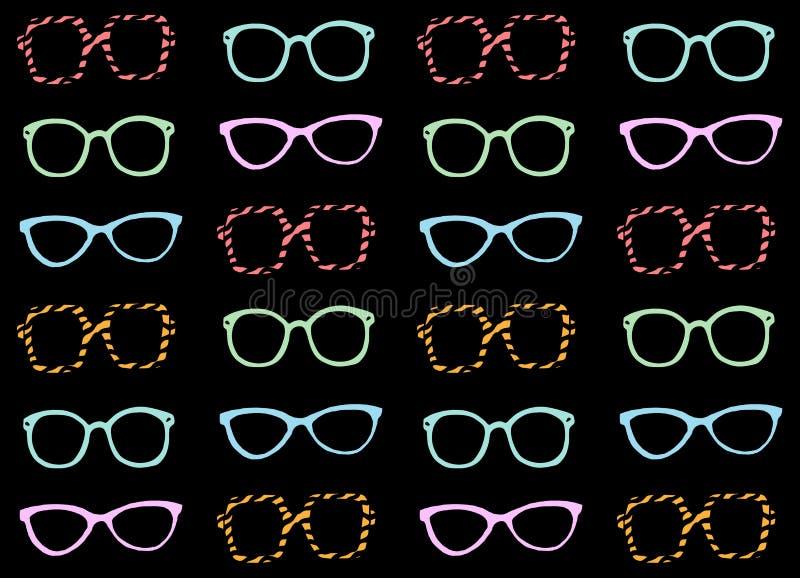 Ilustração engraçada da forma do vetor do teste padrão dos óculos de sol ilustração royalty free