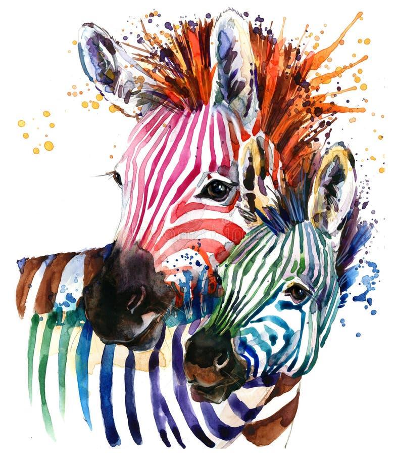 Ilustração engraçada da zebra com textura da aquarela do respingo fundo f do arco-íris ilustração do vetor
