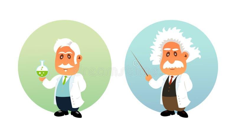 Ilustração engraçada do químico e do matemático ilustração stock