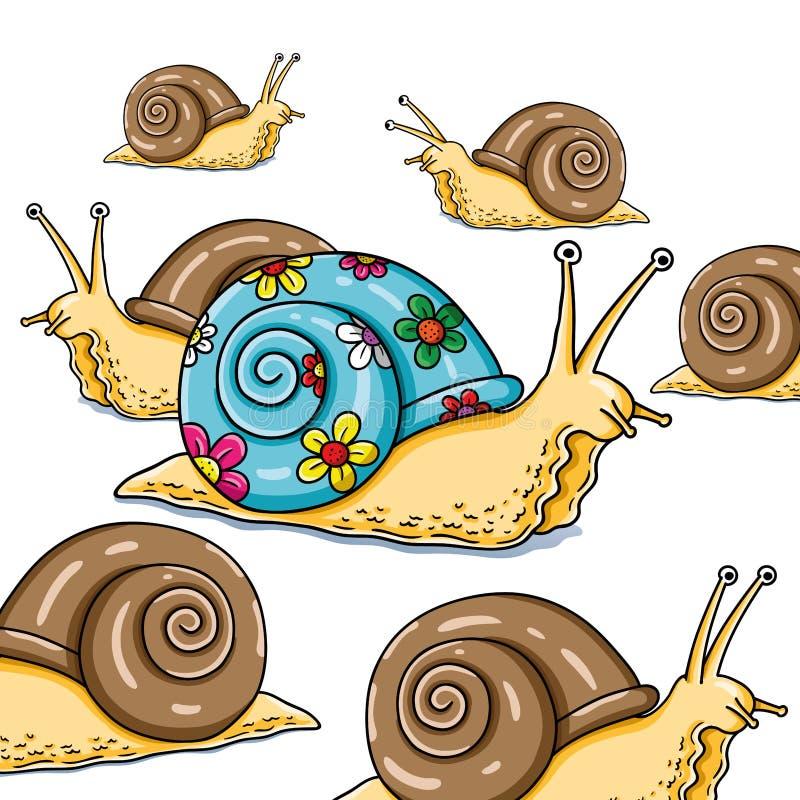 Ilustração engraçada do vetor do caracol com seu do shell pai coloridamente ilustração do vetor