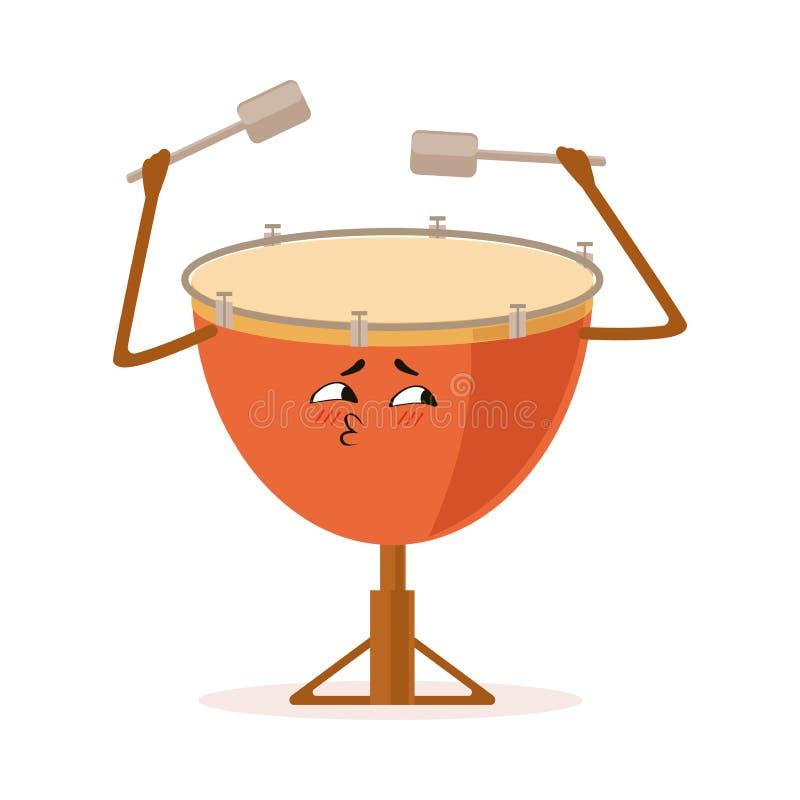 Ilustração engraçada do vetor do personagem de banda desenhada do instrumento musical da percussão do cilindro ilustração royalty free