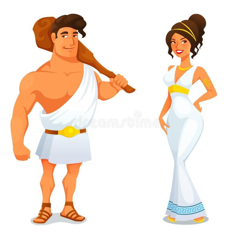Ilustração engraçada dos desenhos animados da história grega ilustração stock