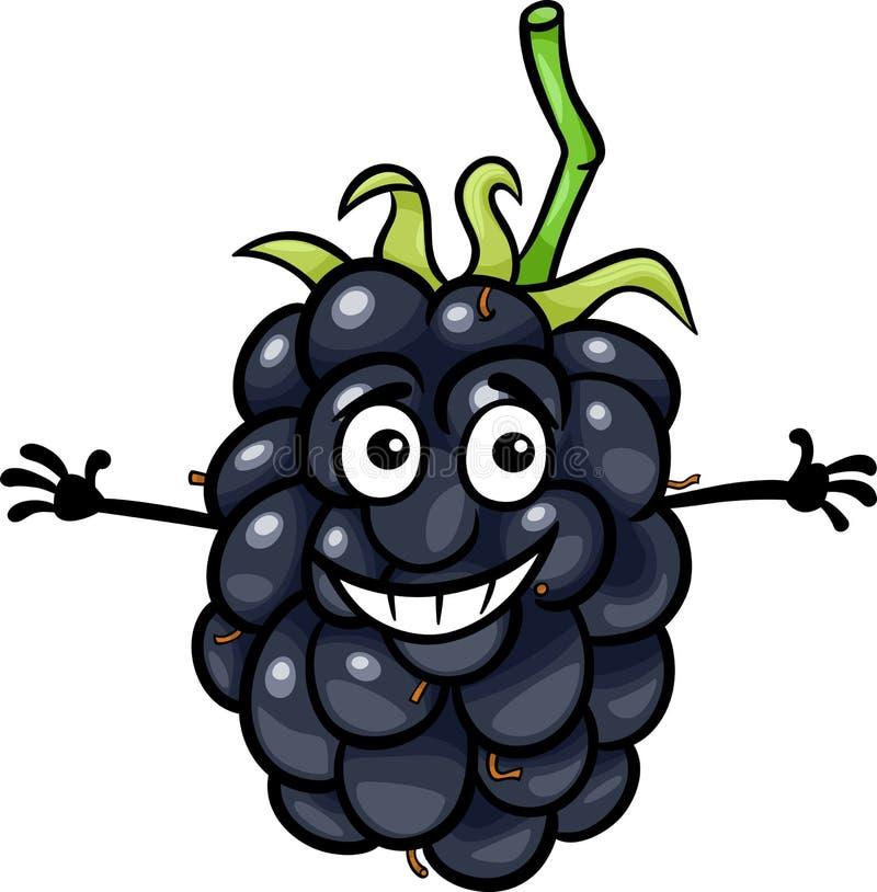 Ilustração engraçada dos desenhos animados do fruto da amora-preta ilustração royalty free
