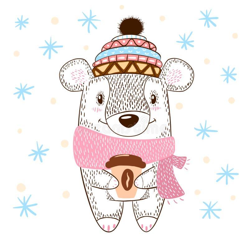 Ilustração enorme dos abraços do urso bonito inverno, chá e café ilustração royalty free