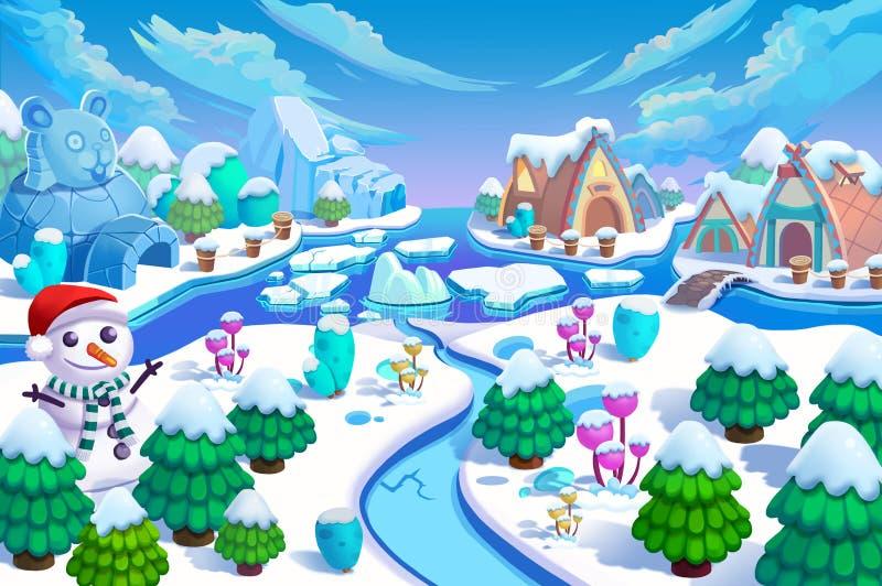 Ilustração: A entrada do mundo da neve! Homem da neve, árvores verdes e flores, montanha do gelo, rio, casas da neve e gelo peque ilustração royalty free