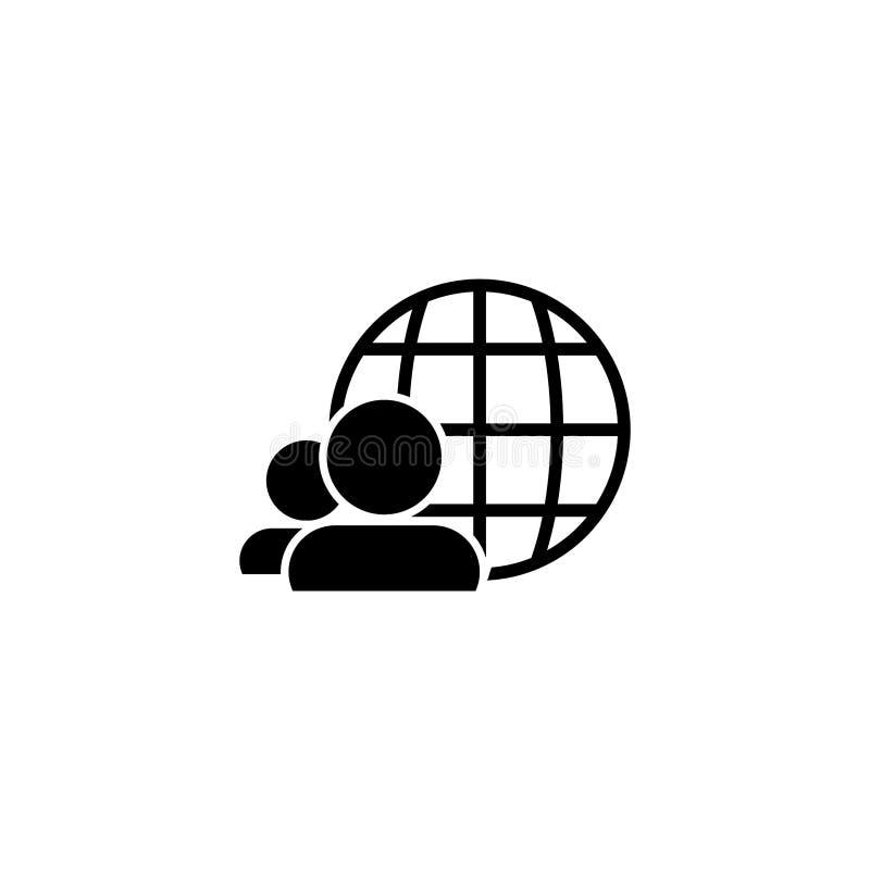 Ilustração EPS 10 do vetor do ícone do globo e dos povos ilustração royalty free
