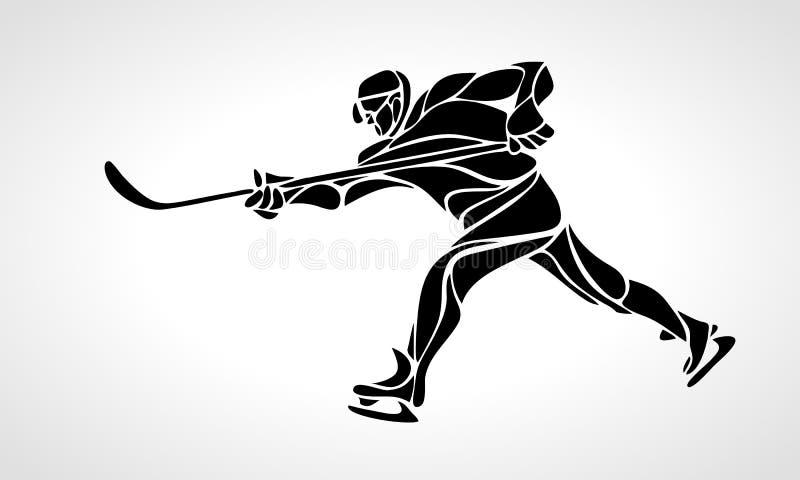 Ilustração eps8 do vetor da silhueta do sumário do jogador de hóquei ilustração do vetor