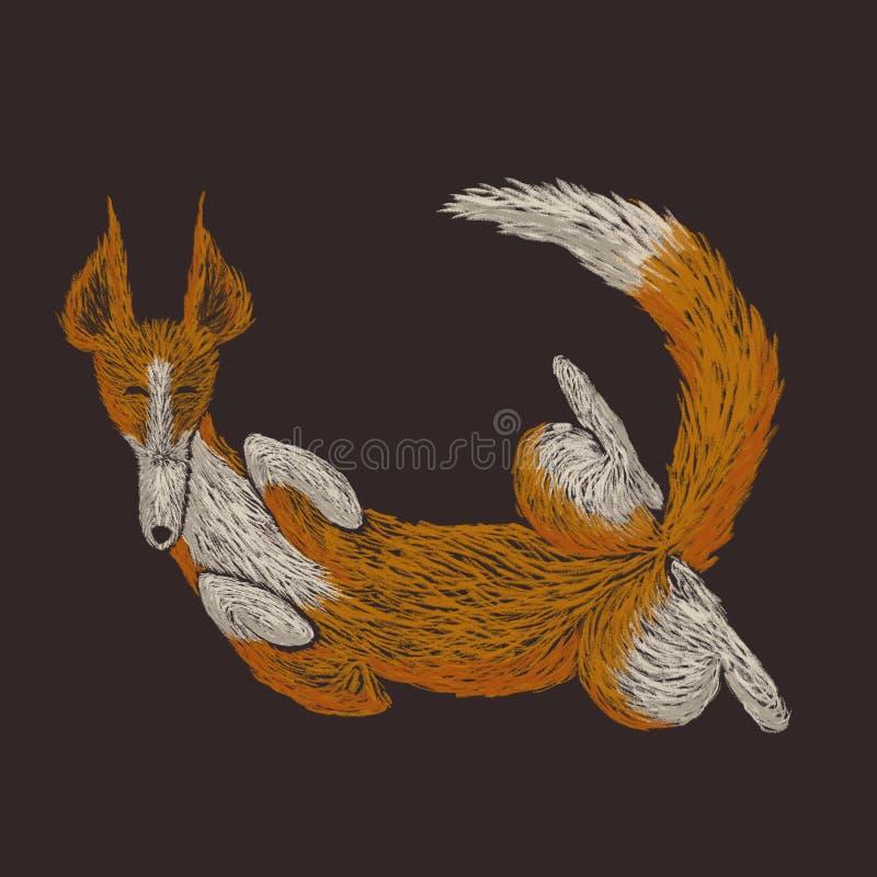 Ilustração esboçado de Digitas de um cão vermelho acima do lado para baixo ilustração do vetor