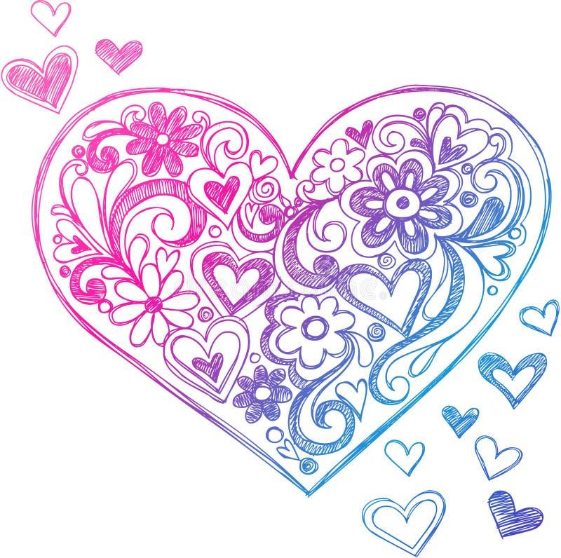 Ilustração esboçado do coração do Doodle ilustração stock