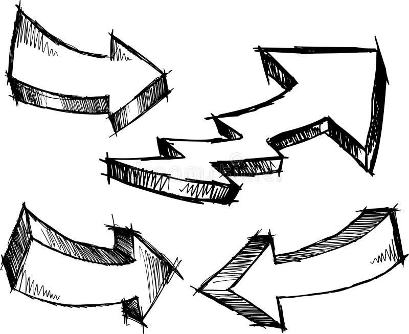 Ilustração esboçado do vetor das setas ilustração stock