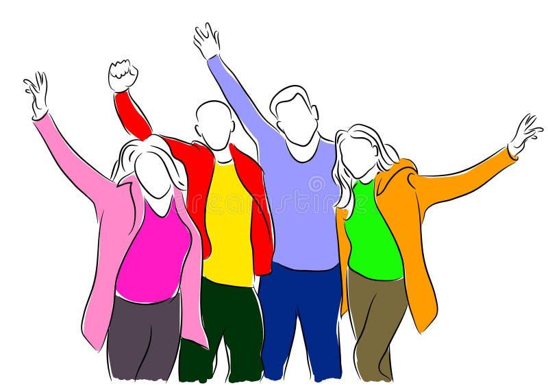 Ilustração esboçado do vetor de um grupo de cheering dos jovens ilustração royalty free