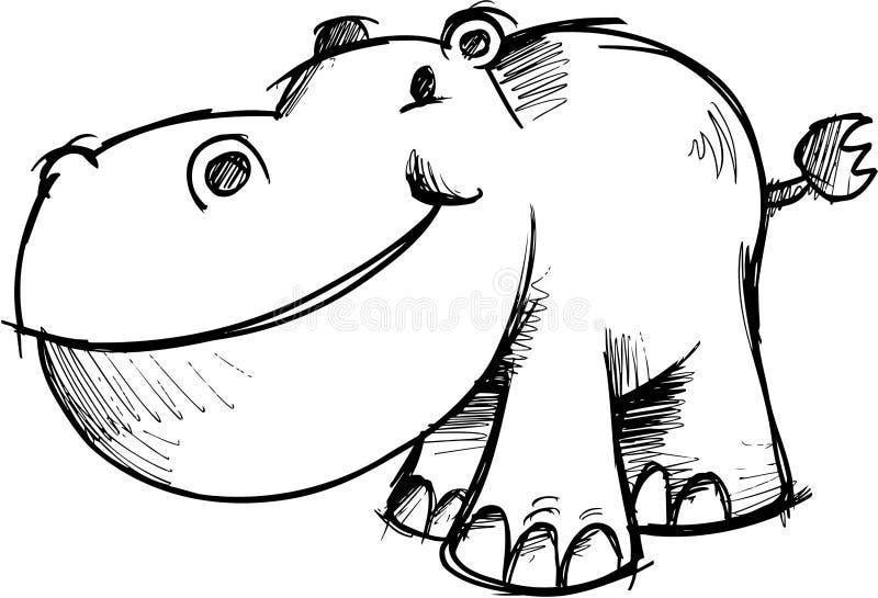 Ilustração esboçado do vetor do Hippopotamus ilustração royalty free