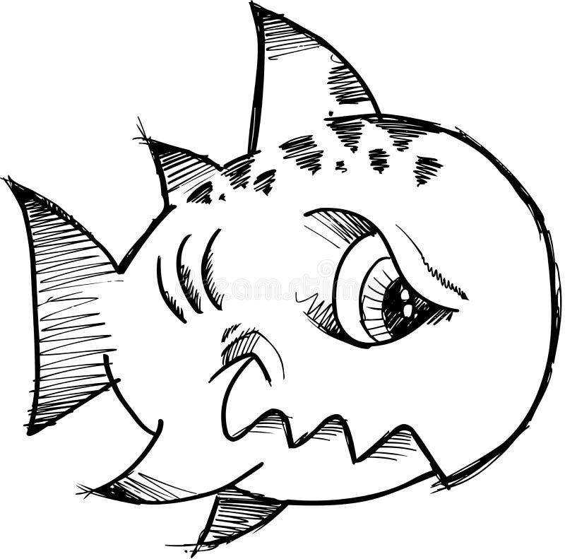 Ilustração esboçado do vetor dos peixes ilustração do vetor