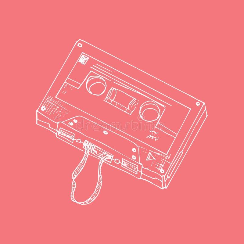Ilustração esboço Fundo vermelho com gaveta de música ilustração do vetor