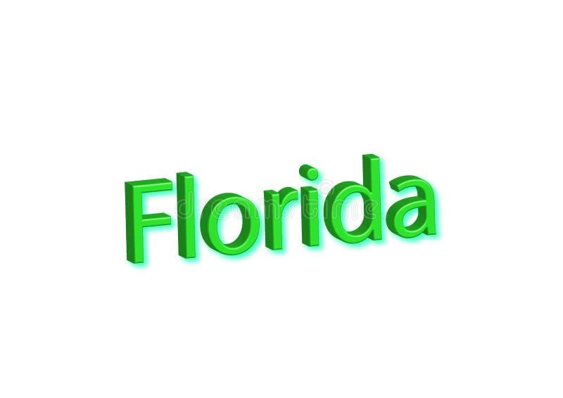 Ilustração escrita Florida, estado americano isolado em um branco ilustração stock