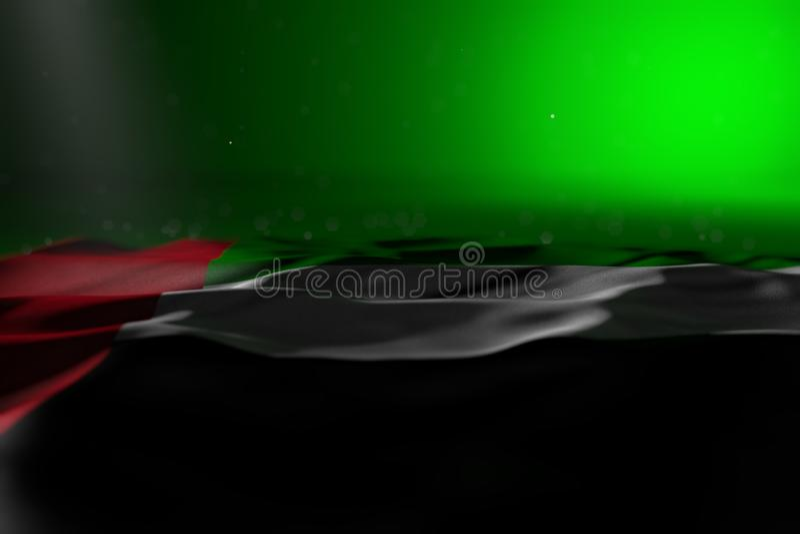 Ilustração escura bonito da bandeira de Emiratos Árabes Unidos que encontra-se no fundo verde com foco seletivo e do espaço vazio ilustração stock