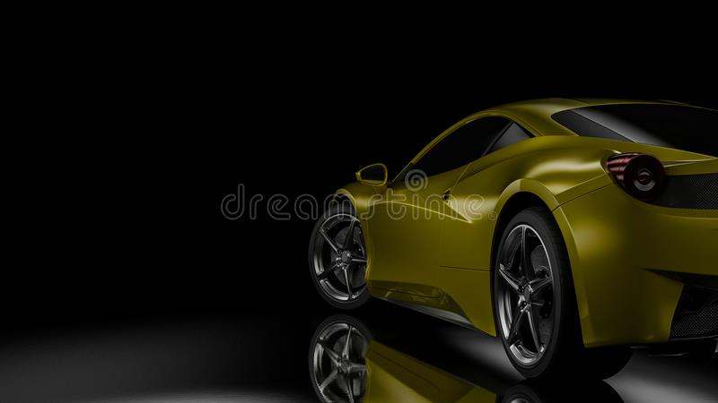 Ilustração escura da silhueta 3D do carro ilustração royalty free