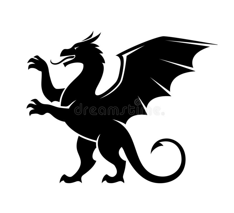 Ilustração estando da silhueta do dragão ilustração do vetor