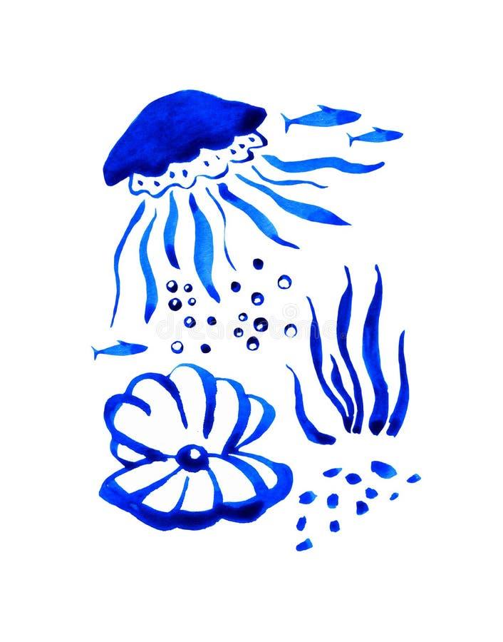 Ilustração estilizada tirada mão da aquarela de Sealife com medusa e shell ilustração do vetor