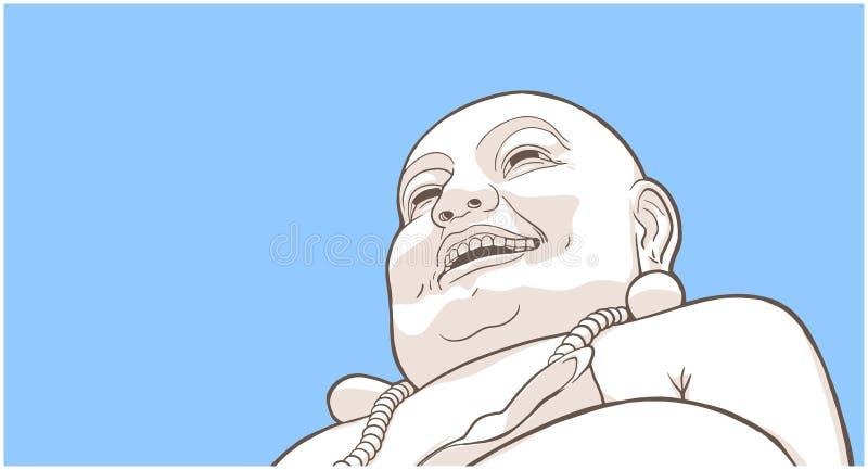 Ilustração estilizado da Buda de riso ilustração stock