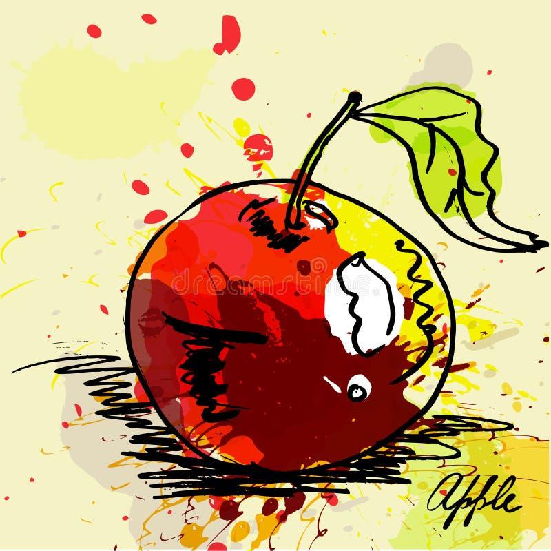 Ilustração estilizado da maçã ilustração stock
