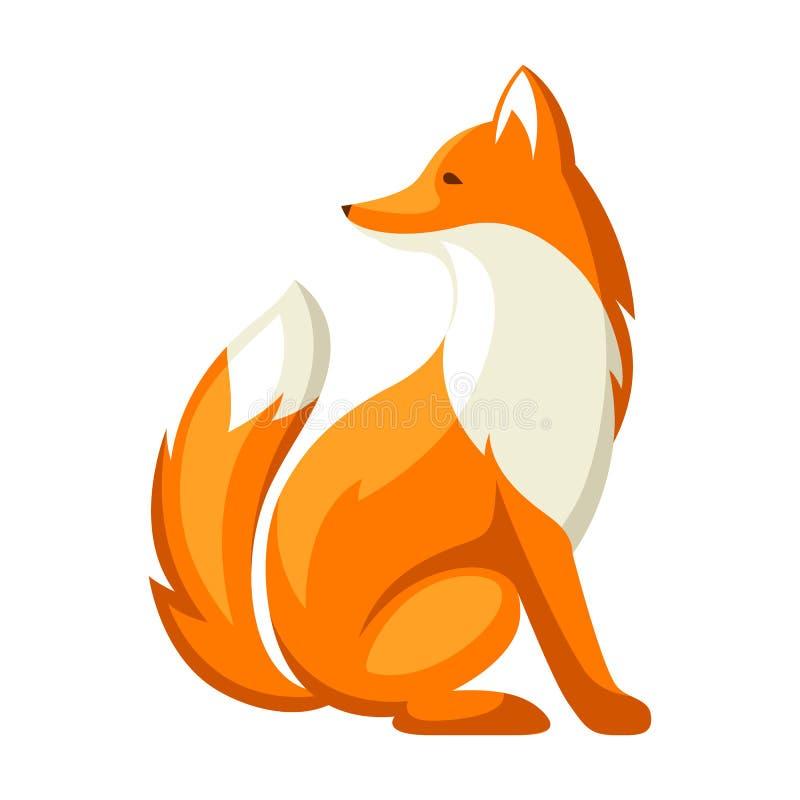Ilustração estilizado da raposa Animal da floresta da floresta no fundo branco ilustração stock