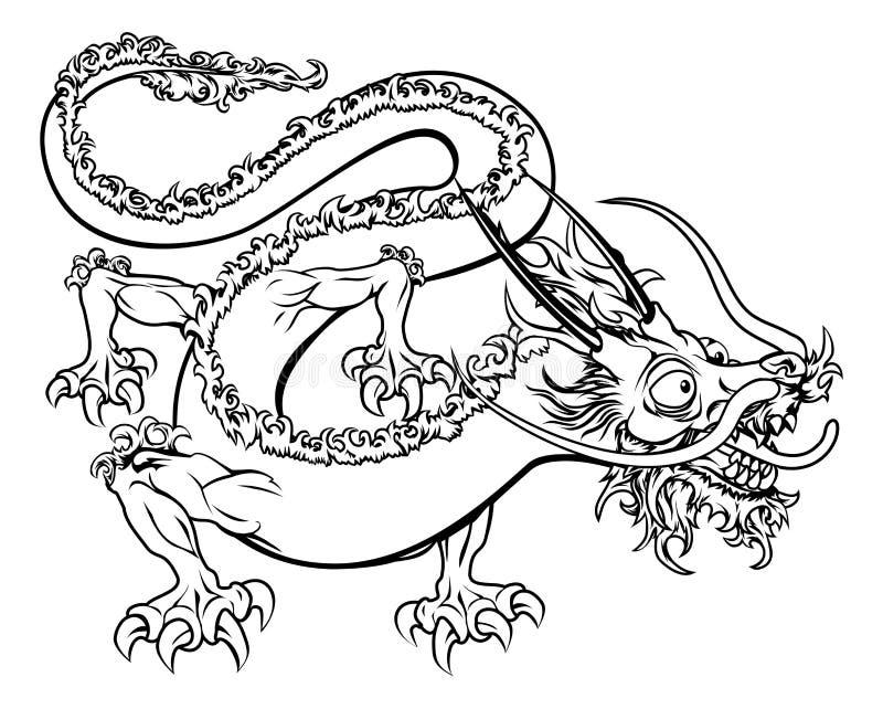 Ilustração estilizado do dragão ilustração royalty free