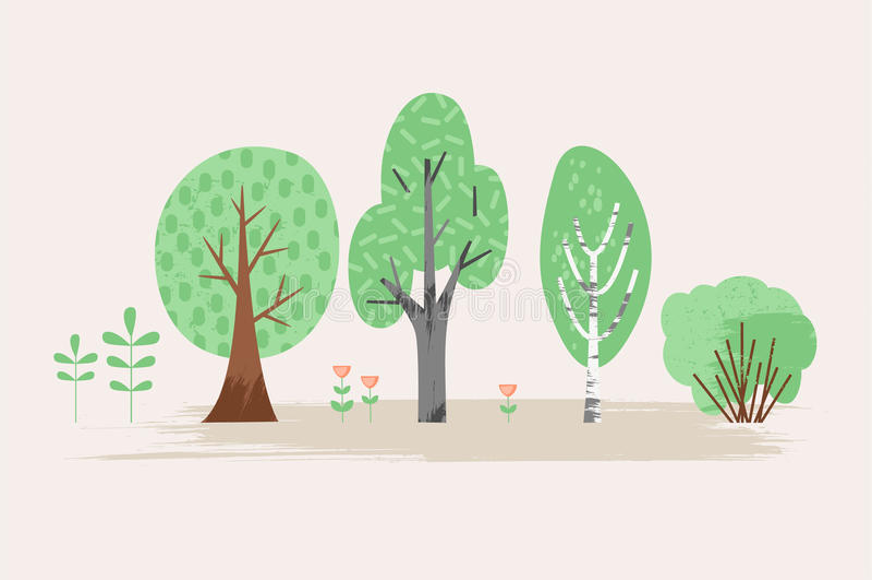Ilustração estilizado do vetor da planta Árvores, arbusto, grama, flores ilustração stock