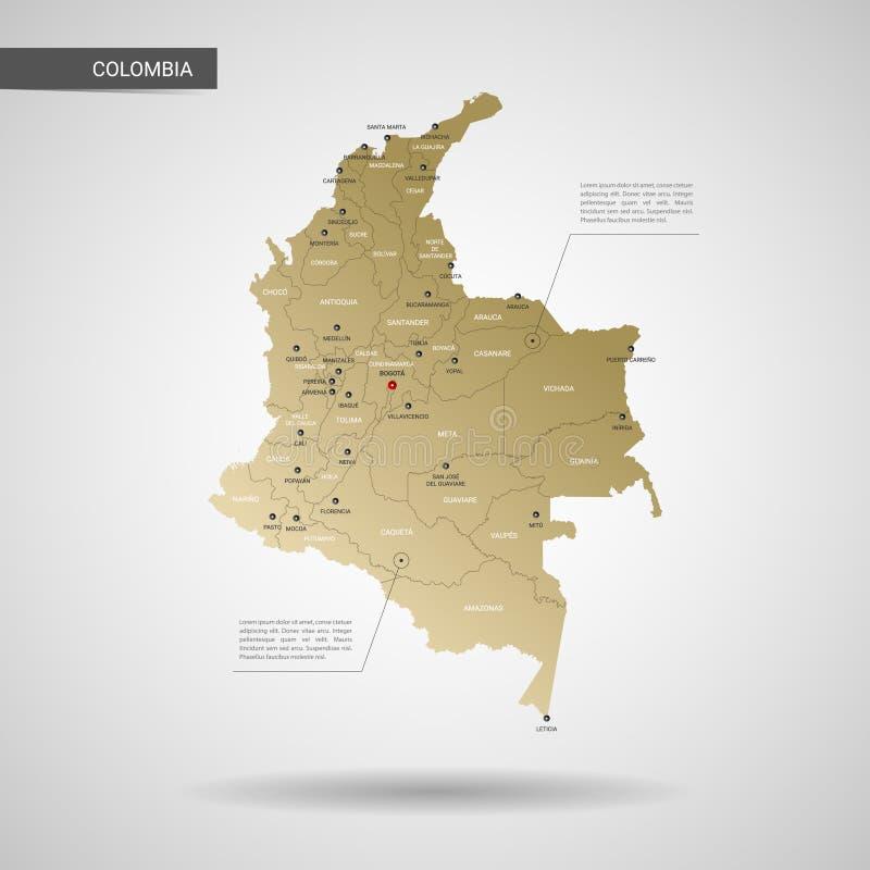 Ilustração estilizado do vetor do mapa de Colômbia ilustração stock