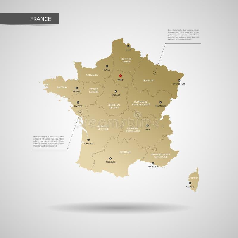 Ilustração estilizado do vetor do mapa de França ilustração do vetor