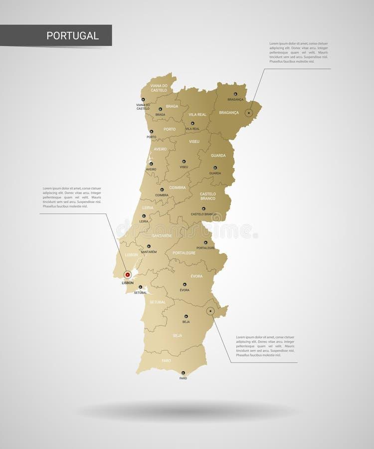 Ilustração estilizado do vetor do mapa de Portugal ilustração stock
