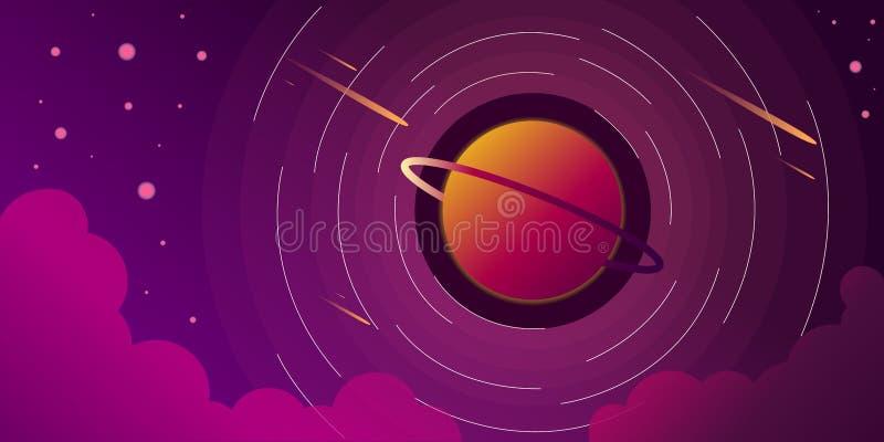 Ilustração estrelado do vetor das nuvens do céu do planeta da galáxia do espaço ilustração do vetor