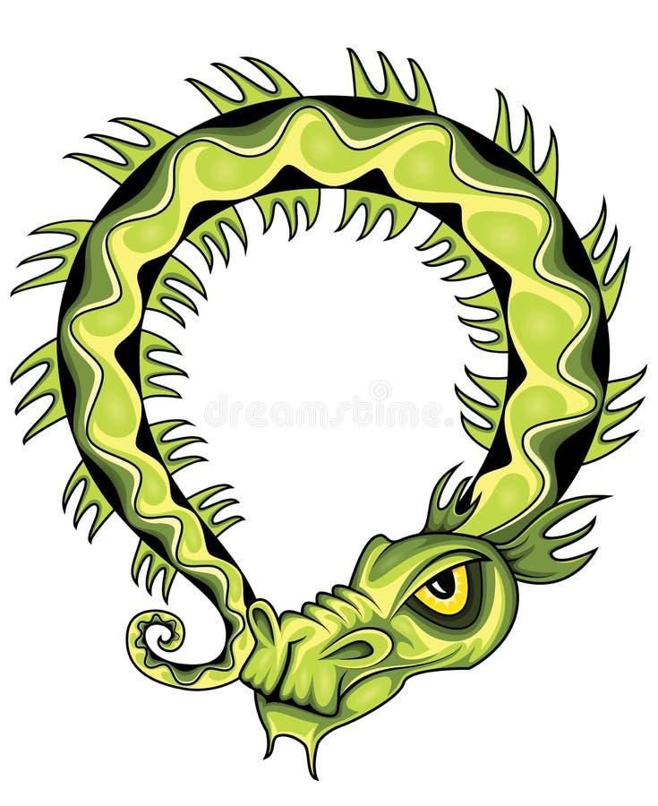 Ilustração exótica chinesa verde antiga do dragão verde ilustração stock