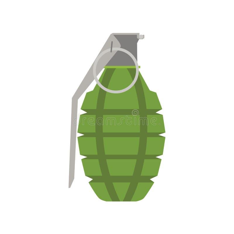 Ilustração explosiva da arma do ícone da mão da bomba do vetor da granada Perigo militar da guerra ilustração stock